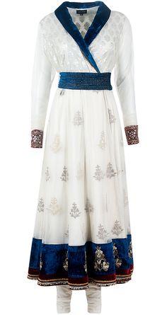 Ivory chanderi angrakha long dress set by ANJU MODI. Shop at http://www.perniaspopupshop.com/designers-1/anju-modi/anju-modi-7632