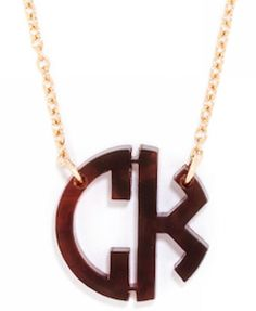 Brown monogram necklace - great gift idea