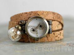 NATUR Kork & Pusteblumen Armbanduhr