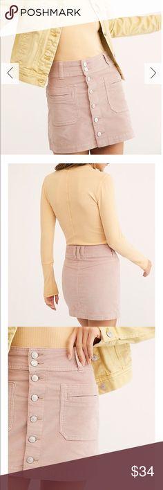 ecc82959de NWT Free People Joanie Cord Skirt NET Free People • We the Free • Joanie  Cord Skirt • Size 27 • Solid Pink / Rose • Corduroy • ABSOLUTELY PRECIOUS  Free ...