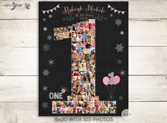 PINK and SILVER Winter Onederland Birthday, Pink and Silver Chalkboard Sign, One Year Chalkboard, 1st Birthday Winter Onederland Party Decor by YourLifeMyDesign on Etsy