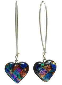 Sterling Silver 925 Dichroic Glass Multi-Heart Earrings