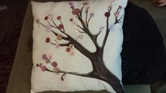 Hand painted button tree pillow.  These buttons were died using Rit dye ... color was cherry red believe it or not.  Available for order at Palmer's Primitives and Crafts Www.facebook.com/palmersprimitivesandcrafts