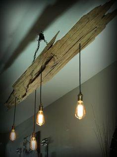 Cypress driftwood vintage light fixture by Rivershackcustoms