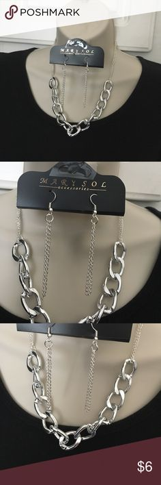 Silver Plated Link Chain Jewelry Set Silver Plated Alloy Jewelry Necklaces