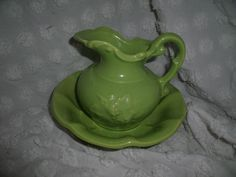 SOLD - Vintage McCoy Pottery Green Pitcher and Basin by CottageKisses, $16.00