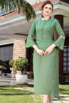 Wholesale Rayon Occasional Wear Plain Long Length Kurti Catalouge. This Is 07 Pcs Catalog.We assure you for best customer experience on your wholsale purchase. We are committed to send you best quality.The color visible in display picture is the closest view of the actual garment. However, slight color or shade variation can occur due to flash or lighting during photo shoot. All these kurtis are readymade available in various sizes Kurti Sleeves Design, Sleeves Designs For Dresses, Neck Designs For Suits, Kurta Neck Design, Dress Neck Designs, Blouse Designs, Plain Kurti Designs, Kurta Designs Women, Simple Kurti Designs