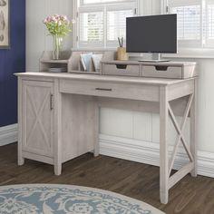 Key West Collection Washed Grey 54W Single Pedestal Desk with Desktop Organizers