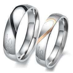 Heart Shape Matching Titanium Steel Lovers Promise Rings