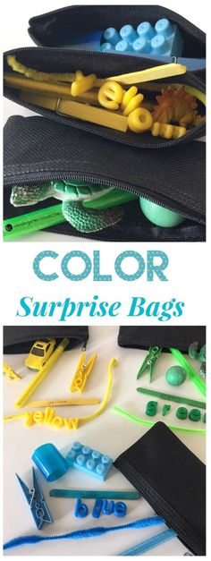Find out how to create a variety of Color Surprise Bags with items you have on hand! Have fun with this hands-on activity for learning about colors! Learning Colors for Toddlers Toddler Color Learning, Color Activities For Toddlers, Colors For Toddlers, Activities For 2 Year Olds, Preschool Colors, Teaching Colors, Toddler Learning Activities, Kindergarten Activities, Infant Activities