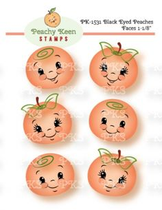 PK-1531 Black Eyed Peaches Faces 1- 1/8th inch