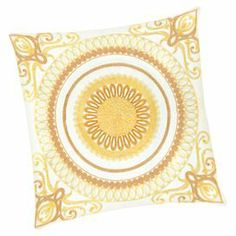 "Cotton pillow with an embroidered medallion motif and feather-down fill.   Product: Set of 2 pillowsConstruction Material: Cotton cover and feather-down fillColor: YellowFeatures:  Inserts includedEmbroidered details Dimensions: 18"" x 18"" eachCleaning and Care: Spot clean"