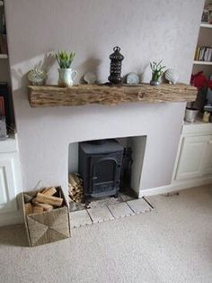 ♥ Reclaimed wood mantel piece & log burner ♥ if only mine looked like this…. ♥ Reclaimed wood mantel piece & log burner ♥ if only mine looked like this…pahaha that's never going to happen Decor, Home Living Room, Reclaimed Wood Mantel, New Living Room, Rustic Fireplace Decor, Home Decor, House Interior, Fireplace Decor, Home And Living