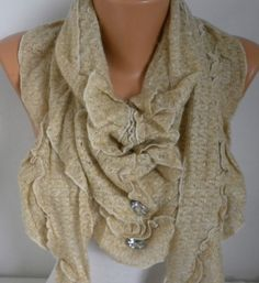 Knitted Scarf ShawlFall Winter ScarfShirred ScarfWomen by fatwoman