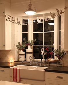 My kitchen window last December. 🎅🏻 I had this bay window decorated this year but last night when I was laying in bed I thought of… Christmas Tress, Christmas Decorations For The Home, Farmhouse Christmas Decor, Xmas Decorations, All Things Christmas, Christmas Home, White Christmas, Apartment Christmas Decorations, Christmas Kitchen Decorations