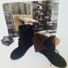 Black Suede Ankle Boots Size 7 Shoes New. Faux Suede. Brown faux fur lining. Black. Size 7. Great reviews from supplier. Get bundle discount w/o bundling 15% off listed price Ask. Pair with lrl socks or polo Ralph Lauren trouser socks Shoes