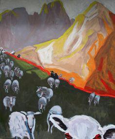 """EvaSchlitzer """"Das Schweigen der Lämmer"""", 120x100, Acryl auf Leinen, 2015"""