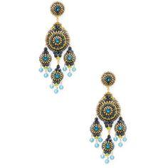 Miguel Ases Women's Beaded Chandelier Statement Earrings - Bright Blue (€210) ❤ liked on Polyvore featuring jewelry, earrings, bright blue, 14k earrings, gold filled earrings, statement earrings, 18k earrings and swarovski crystal chandelier earrings
