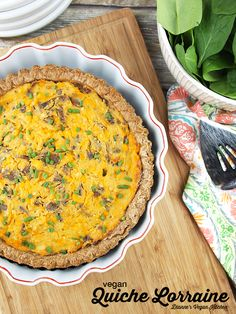 Vegan Quiche Lorraine from Baconish by Leinana Two Moons – perfect for Mother's Day, Easter, or any springtime brunch! Vegan Breakfast Recipes, Delicious Vegan Recipes, Raw Food Recipes, Healthy Recipes, Vegan Quiche, Quiche Lorraine, Vegan Dishes, Vegan Food, Healthy Family Meals