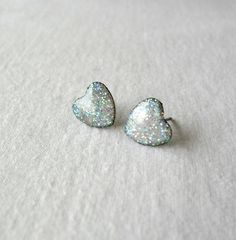 White glitter hearts post earringsValentine's by DivineDecadance, $15.00