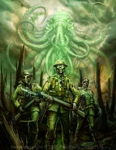 Call of Ctulhu: The Wasted Land.  #Tentacles #Zombies #Gasmask