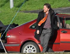 """'Filth'  Actors James McAvoy and Jamie Bell film their new movie, """"Filth"""" on January 23, 2012 in Glasgow, Scotland. The guys smoked cigarettes and laughed between takes in the cold, rural location.  (January 23, 2012 - Photo by FameFlynet"""