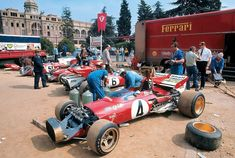 "Ferrari ""pit"", Spain, 1971. The car in front is a Ferrari 312B, driven by Jacky Ickx."