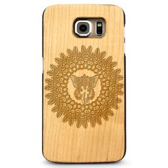 Tribal Circle Elephant- Laser Engraved Wood Phone Case (Maple,Cherry,Black,Cork)
