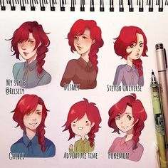 Trying out the #stylechallenge because im trying to fight an art block some are ok others...not so much but it was fun! Steven universe is sooo inaccurate sorry, got the eyes wrong and it was too late by then lol. Disney style is more based on the classic one with Aurora as my reference. Pokemon actually turned out better than expected lol! I think ghibli was the hardest to replicate for me though. Traditional lineart pencil + ink, colouring is digital #digitalart #كلنا_رسامين…