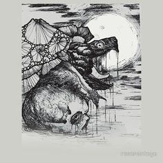 Snapping turtle pen and ink shirt by resonant eye #tattoos