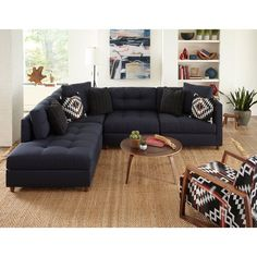Modern Blue 4-Piece Sectional with Pendleton by Sunbrella® Pillows - Domino