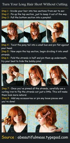 Sometimes you want to have a short hair day, but without the commitment of actually getting your hair cut! Here's a fun and cute way to style your long locks into a short bob do. Enjoy!