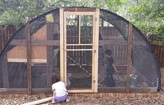 This one is easy!  We had an old trampoline frame in the back yard.  We just reconfigured the pieces into the frame and added a few cheap items to make the coolest chicken coop ever.  Our 10 chickens and 13 ducks have lots of room, especially...