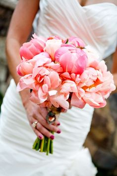 Beautiful coral bouquet. Coral Peonies, Peony Tulips, and Juliet Garden Roses.