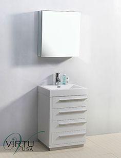 """24"""" Virtu Bailey JS-50524-GW Single Sink Bathroom Vanity - Gloss White #Virtu #HomeRemodel #BathroomRemodel #BlondyBathHome #BathroomVanity"""