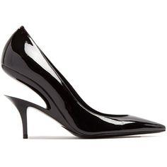 Maison Margiela Suspended-heel patent-leather pumps featuring polyvore women's fashion shoes pumps black patent pumps cut out pumps pointy-toe pumps pointed-toe pumps patent pointed toe pumps