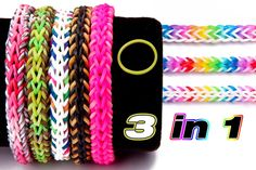 This rainbow loom bracelet was designed by instagram @eunicetheloomer  This bracelet can be worn in three different ways because it has 3 unique sides. One of the sides looks similar to the baseball stitch but is half the size. This tutorial is taught on the rainbow loom, but we show you how to make it on the monster tail as well.   To calculate how many bands you need for this bracelet to fit, take the length of your wrist in inches and multiply it by 11.