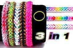 3D Triple Dimension EASY Reversible Rainbow Loom Bracelet - Three Sides
