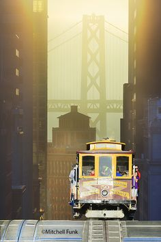Cable Car At Sunrise With Bay Bridge In The Background, San Francisco By Mitchell Funk   www.mitchellfunk.com
