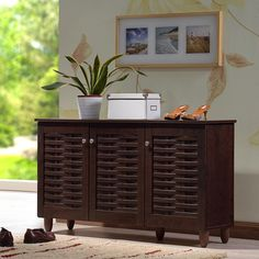 Shop for Baxton Studio Rhodes Dark Brown 3-door Shoe Cabinet. Get free shipping…