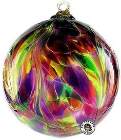 Kitras Feather Witch Ball Blown Glass Ornament-Purple Magenta & Green