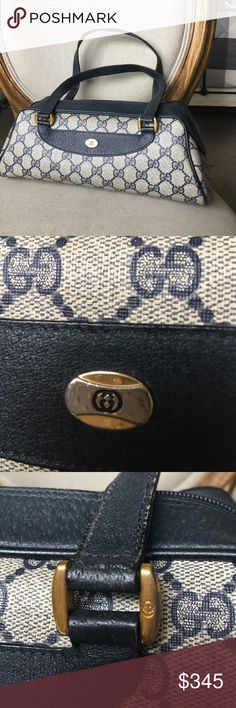 """Gucci navy and leather shoulder bag Vintage Gucci navy canvas and leather classic """"Anniversary Collection """" bag in great condition! Come with dust bag Gucci Bags Shoulder Bags"""