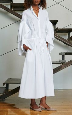 Cotton Fiesta Shirt Dress With Ruffled Sleeves by ROSIE ASSOULIN Now Available on Moda Operandi