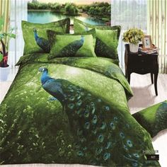 3D Colorful Peacock Bedding Set Queen Size 100 Cotton 4pcs Bedspread Quilt Cover
