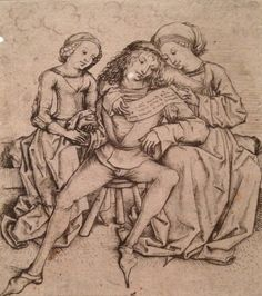 Seated Couple with a Young Rival (1480s) by The Master of the Housebook. From The Young Dürer: Drawing the Figure Exhibition @ The Courtauld Gallery. As the woman on the right embraces her husband, he furtively grasps the hand of the younger girl on the left, who lifts her skirt seductively. The scene has been read as a warning against marital infidelity or the dangerous power of women over men; perhaps the women conspire to manipulate the man's response to the mysterious, illegible scroll.