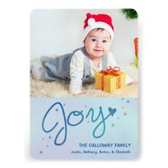 Joy / Holiday Photo Card by Orabella Prints. #modern #photo #holiday #christmas #simple #casual #elegant #family #blue #watercolor