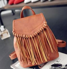 Luxury Quality Trendy Fashion Fringe Accent Leather Large-Capacity Backpack 5 Colors