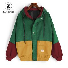 online shopping for ZAFUL Women's Raglan Sleeve Drop Shoulder Color Block Corduroy Hooded Jacket from top store. See new offer for ZAFUL Women's Raglan Sleeve Drop Shoulder Color Block Corduroy Hooded Jacket Retro Outfits, Cool Outfits, Vintage Outfits, Casual Outfits, Vintage Fashion, Grunge Outfits, Coats For Women, Jackets For Women, Neue Outfits