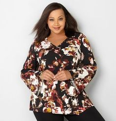 50d87082e46 Abstract Floral V-Neck Top -  24.96 Plus Size Womens Clothing