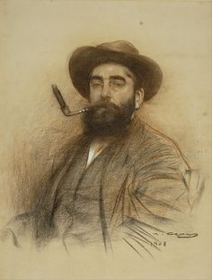Self Portrait by Ramon Casas – Catalan Spanish artist and graphic designer who helped to define the Catalan art movement known as modernisme. Spanish Painters, Spanish Artists, Ramones, L'art Du Portrait, Portrait Sketches, Modernisme, Google Art Project, Collaborative Art, Gouache